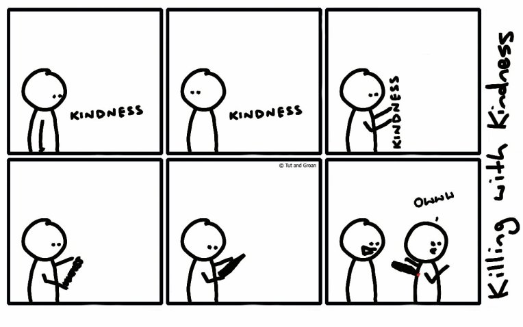 Tut and Groan Six Panels: Killing with Kindness cartoon