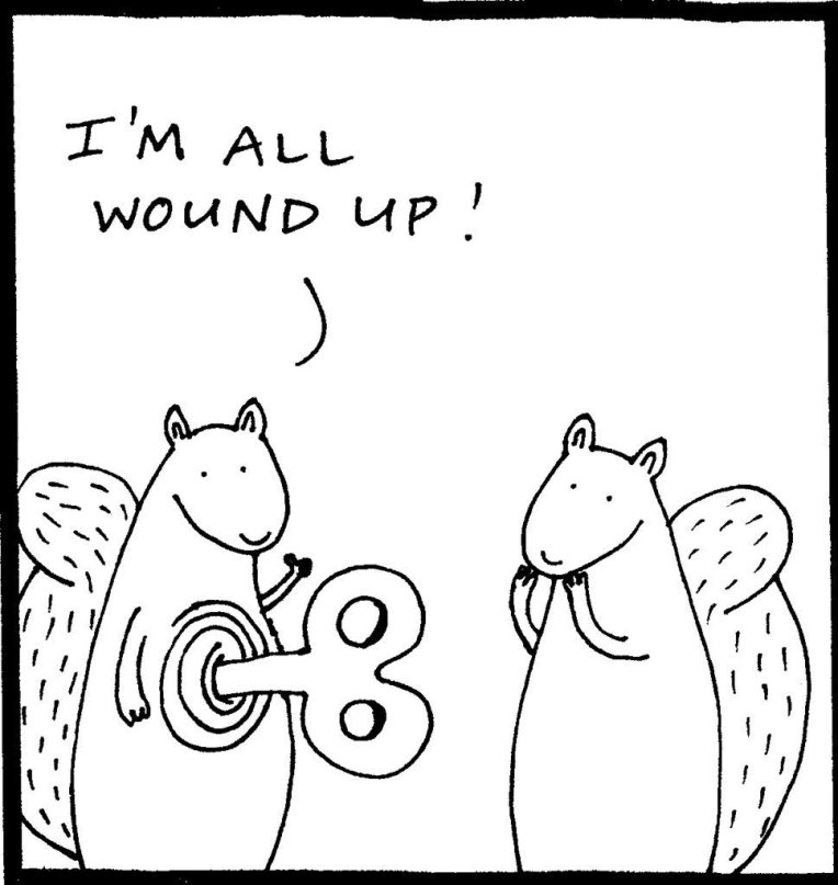 Tut and Groan Wound Up by Diary of a Squirrel cartoon