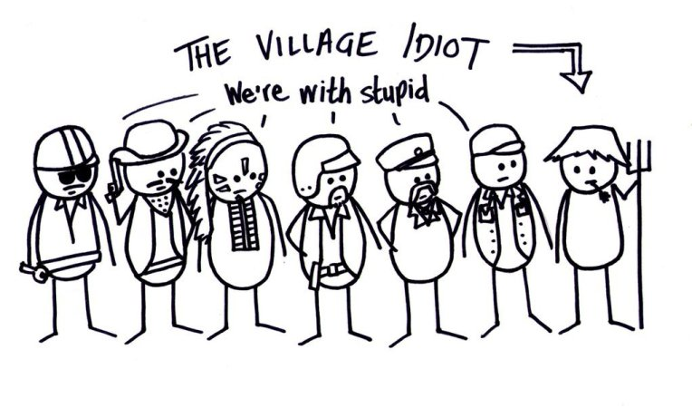 Tut and Groan Guest Toon The Village Idiot by Phil Booth cartoon