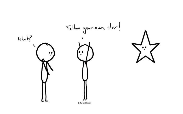 Tut and Groan Follow Your Own Star cartoon
