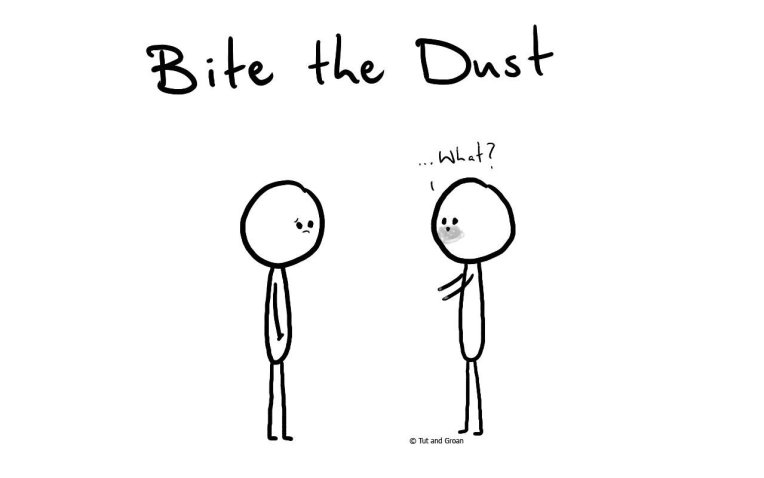 Tut and Groan Bite the Dust cartoon