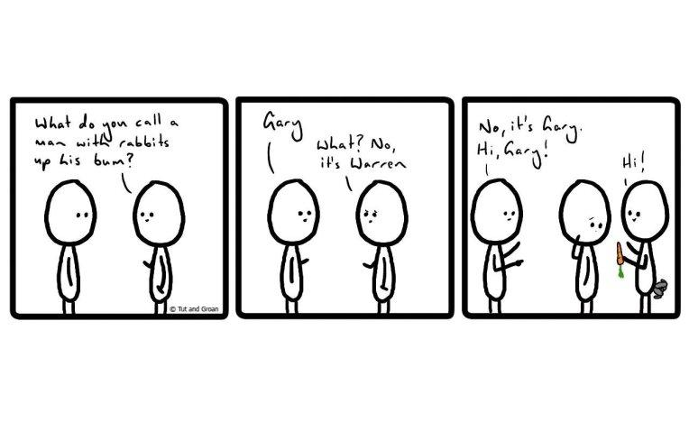 Tut and Groan Three Panels: Rabbits cartoon