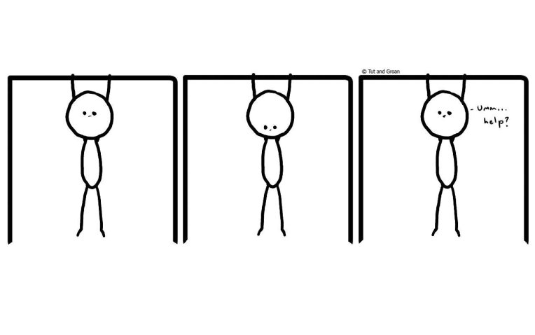Tut and Groan Three Panels: Hanging Around cartoon