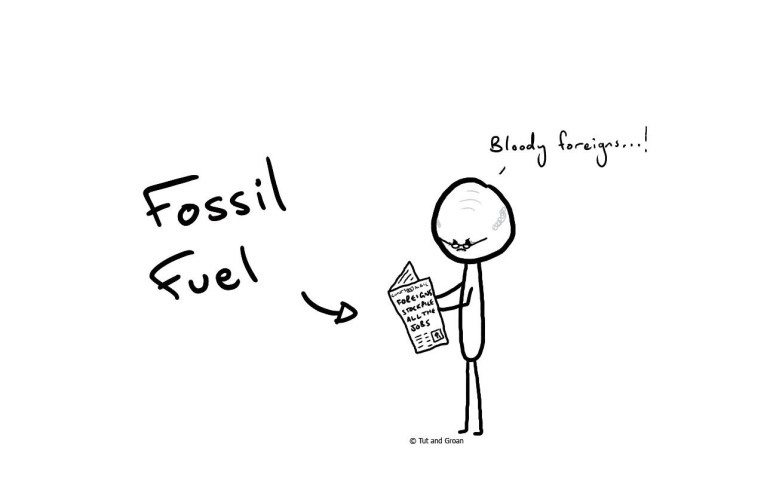 Tut and Groan Fossil Fuel cartoon