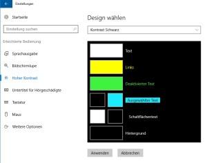 Windows Einstellungen Kontrast