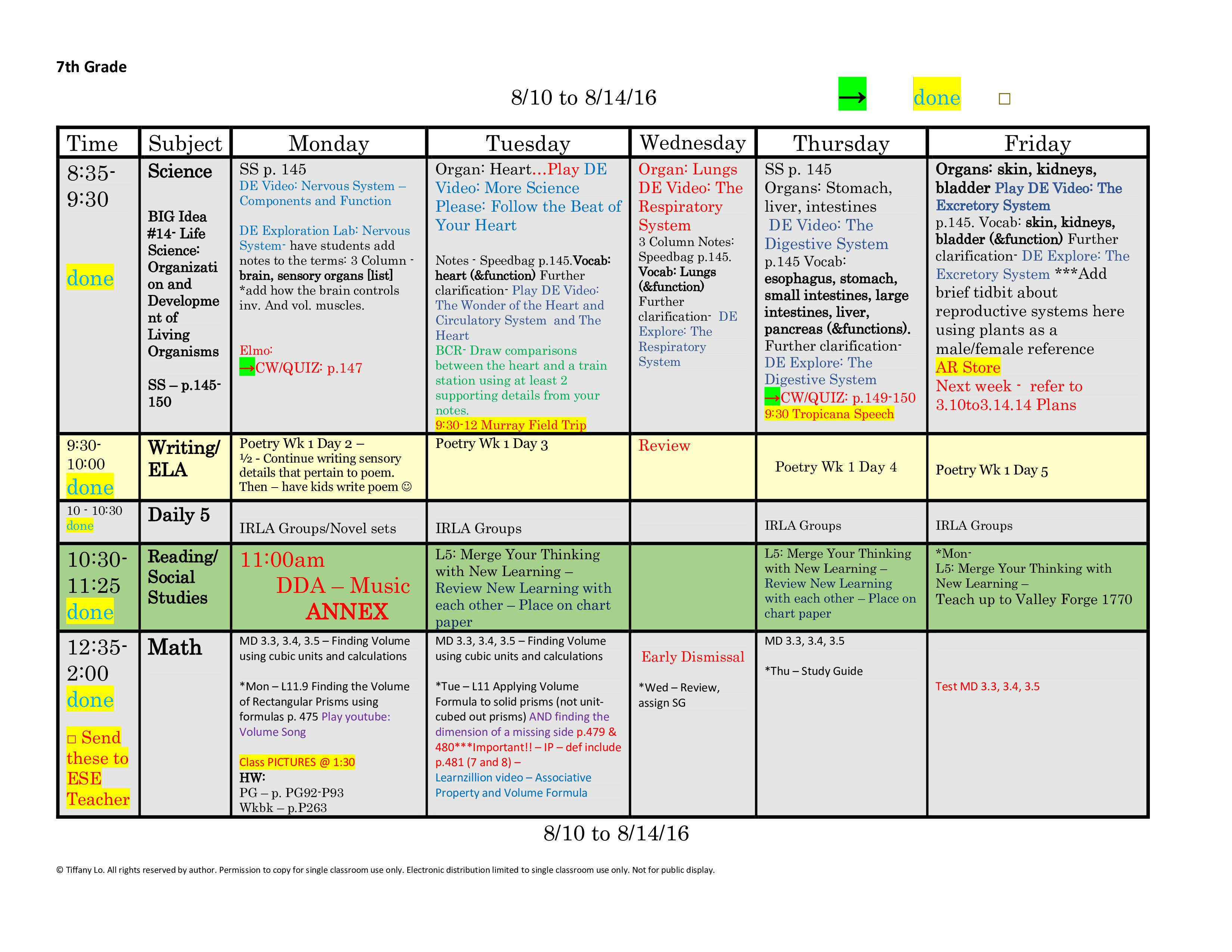 7th Seventh Grade Lesson Plan Template One Week One Page