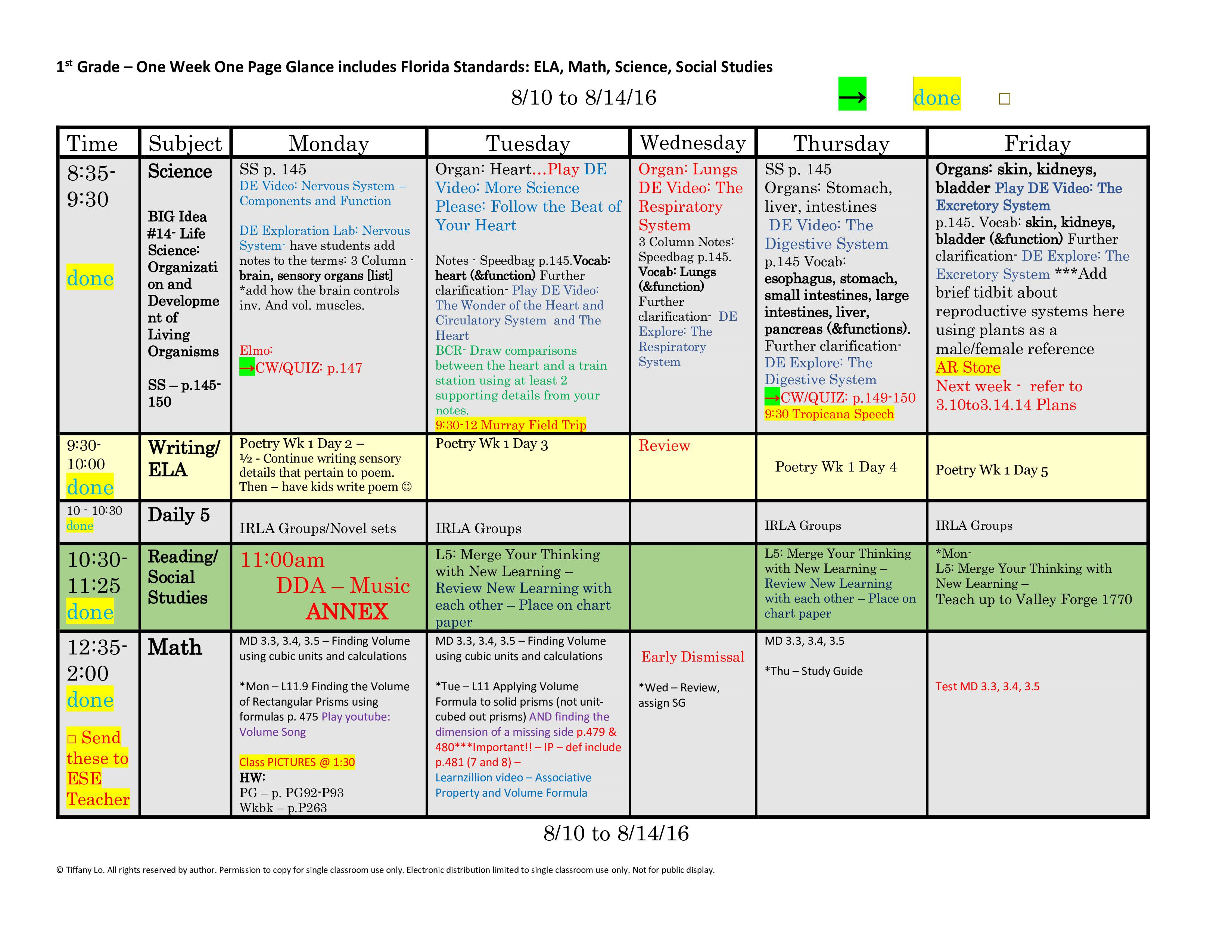1st First Grade Florida Standards Weekly Lesson Plan