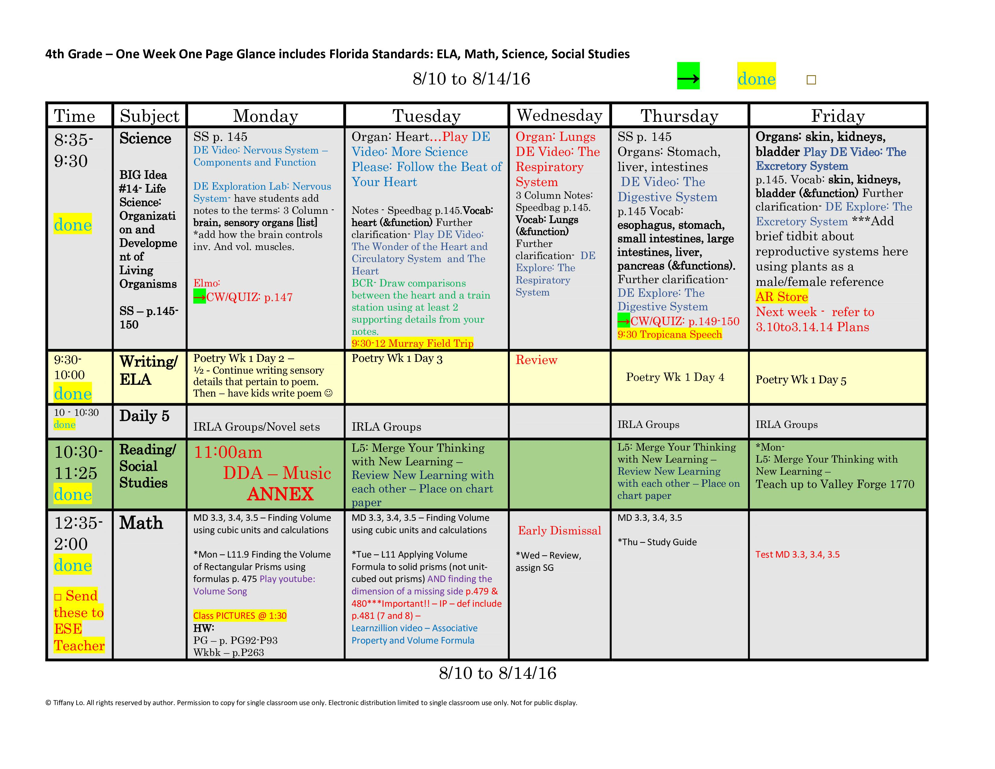 4th Fourth Grade Florida Standards Weekly Lesson Plan