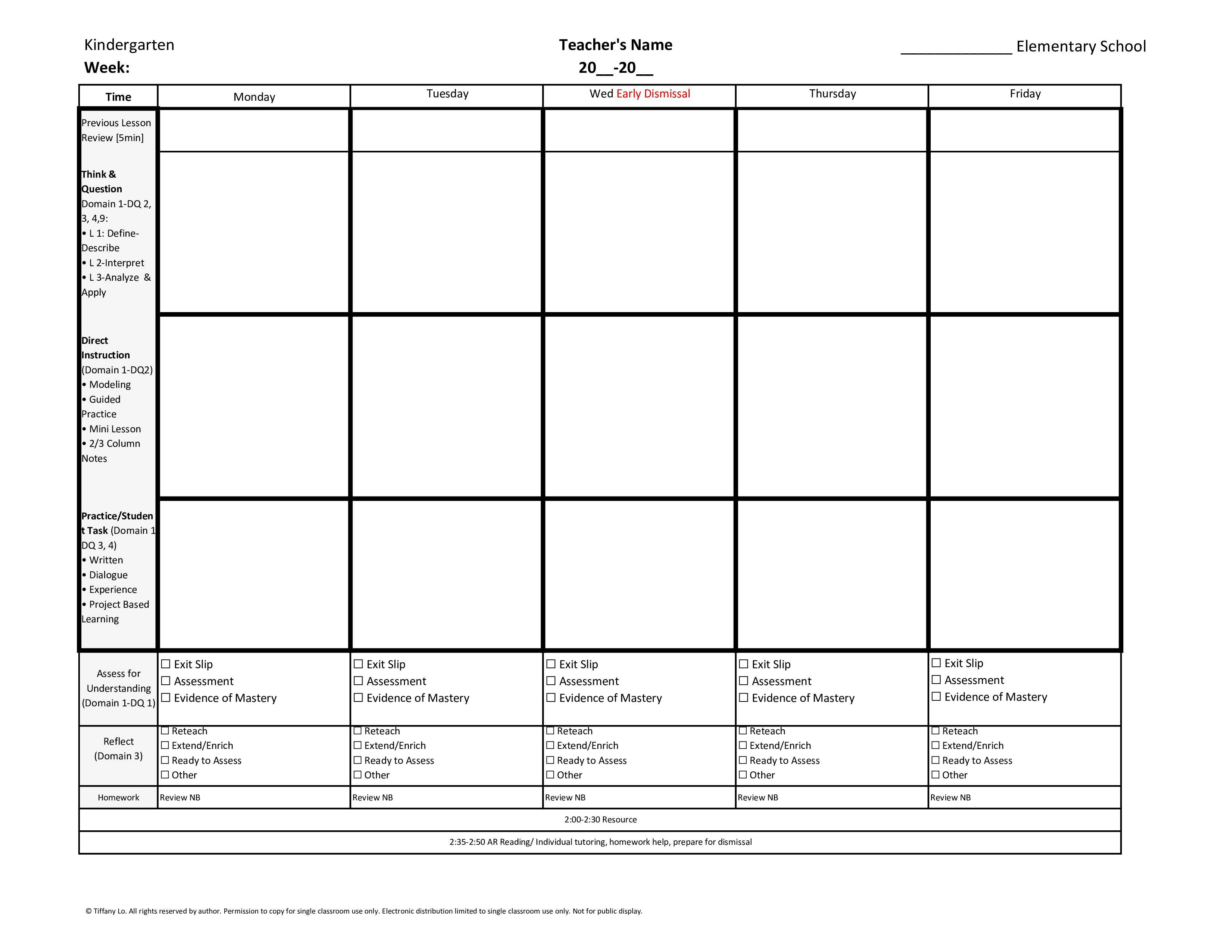 Kindergarten Weekly Lesson Plan Template W Florida