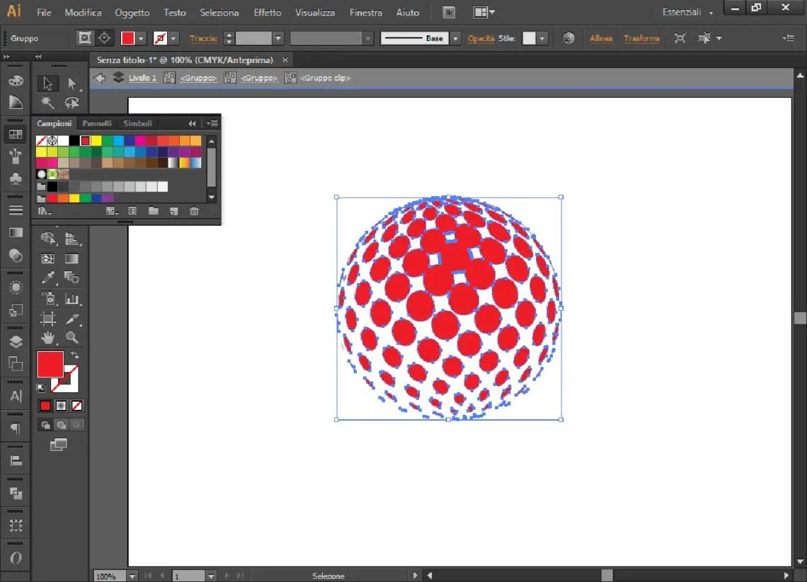 Cerchio 3D con pallini di rosso