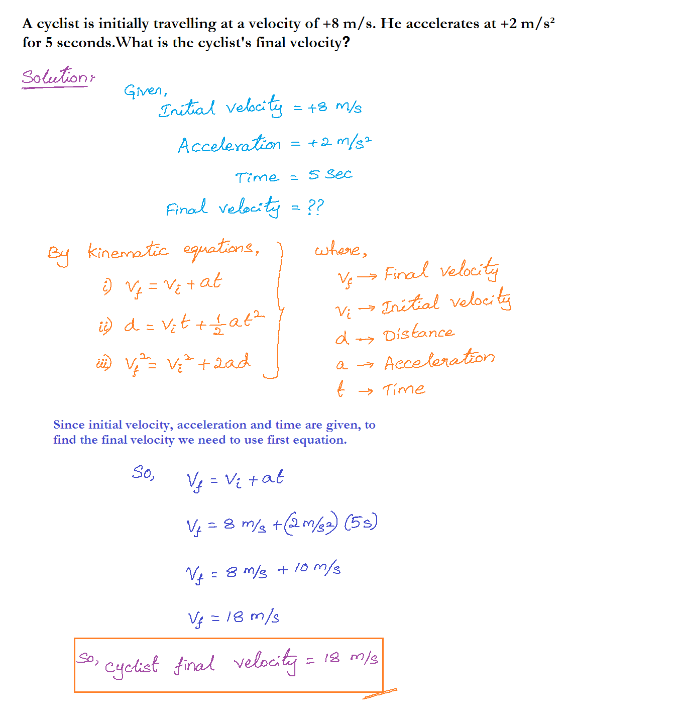 Equation For Velocity Chemistry
