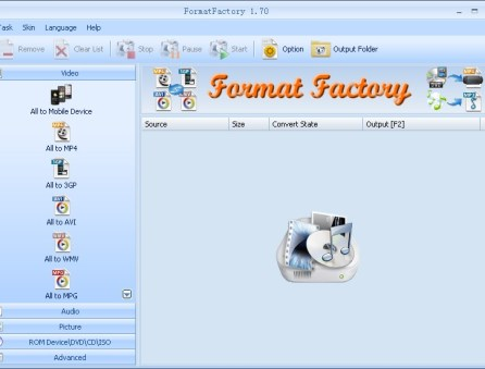 Convertitore filmati video FormatFactory