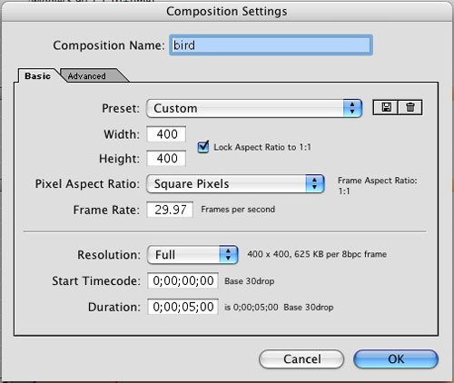After effects compositing: Animare un uccello in After Effects 1