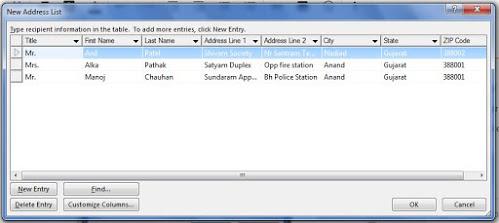 Address List - mail merge in MS word