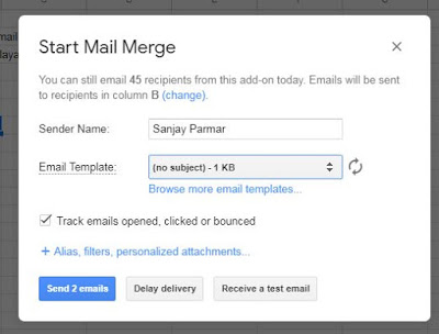Choose Email Template Mail Merge Gmail