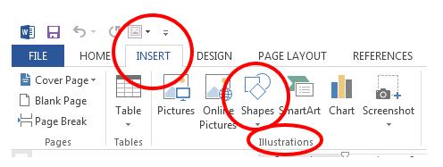 insert shape in ms word