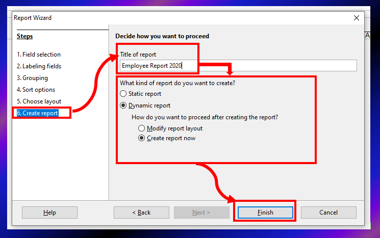Create Report - Report wizard in OO base