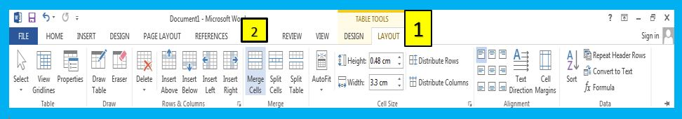 Merge Cells option in MS Word