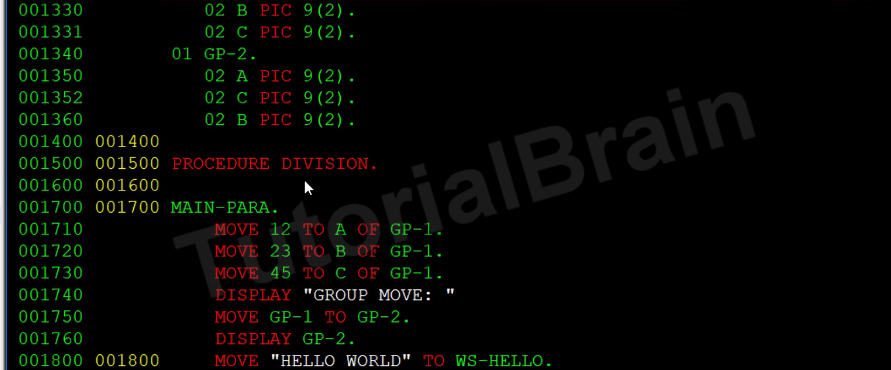 COBOL MOVE Different Types of MOVE Statement — TutorialBrain