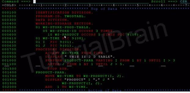 COBOL Arrays - Internal Table — TutorialBrain