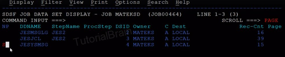 SDSF-Command to see the details inside a Job in SPOOL
