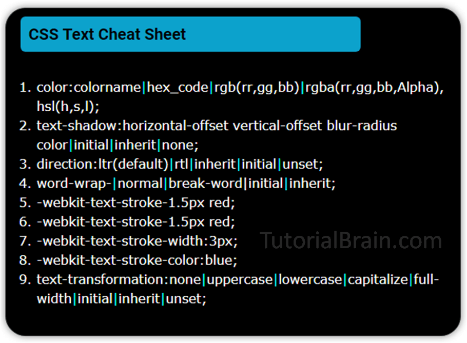CSS Text — TutorialBrain