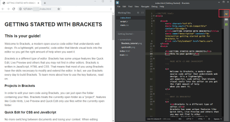 Brackets Live Preview in Browser