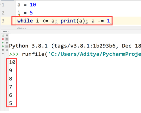 Python while loop single line