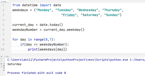 Python current weekday name