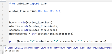 Python hour minute second microsecond