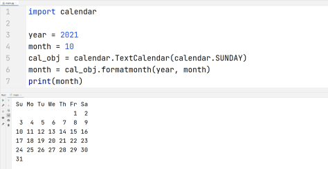 Python Calendar - Whole month on calendar