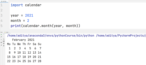 Python Calendar - Whole month on calendar first