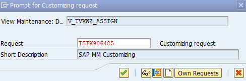 Assign Sales organization customizing request in SAP