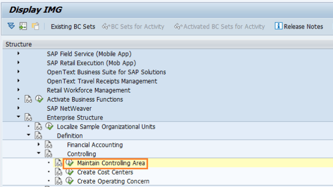 Maintain Controlling Area in SAP Path