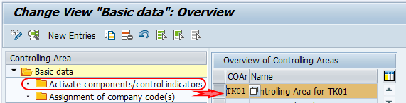 Activate components control indicators SAP