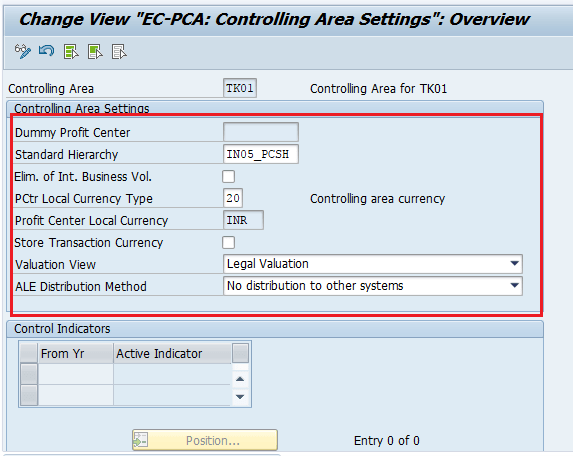Controlling area settings configurations in SAP