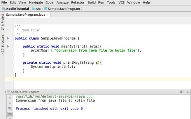 Open Java File in IntelliJ IDEA - Kotlin Tutorial - www.tutorialkart.com