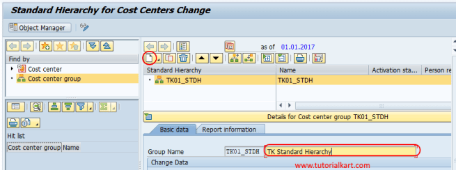 standard hierarchy for cost center changes SAP
