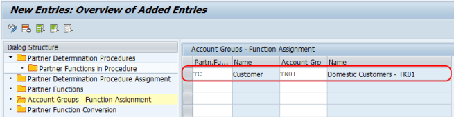 Assign partner function account group SAP