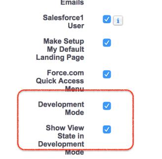 Enabling development mode in Salesforce