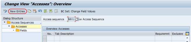 SAP Accesses new entries