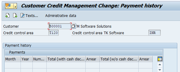 credit limit for Customer SAP payment history