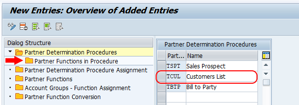 partner function in procedures SAP