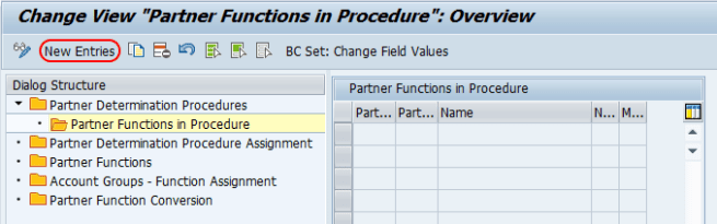 partner functions in procedures new entries SAP