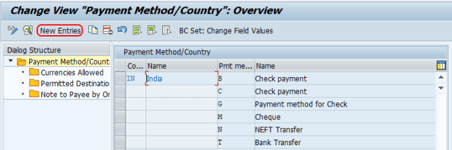 set up payment method for country SAP