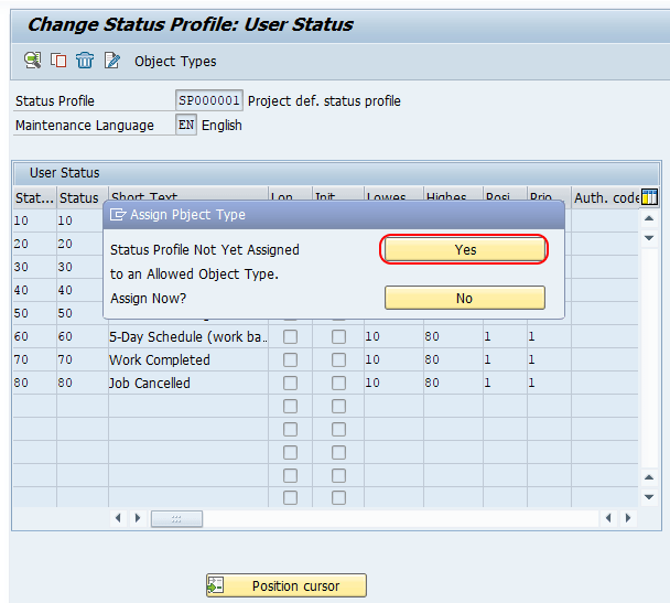 Assign object type SAP