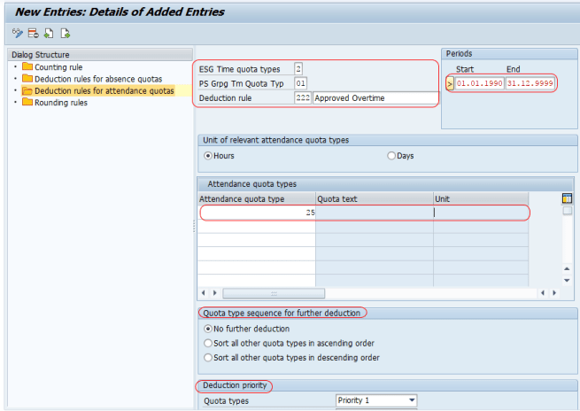 Deduction rules for attendance quotas