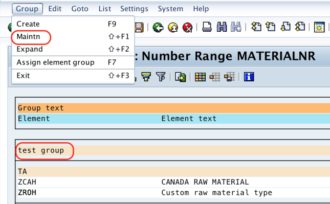 Define Number Ranges for Material Type