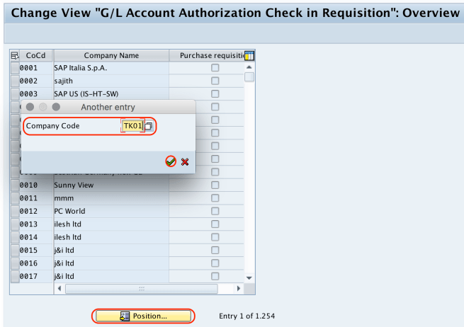Authorization Check for G:L Account company code
