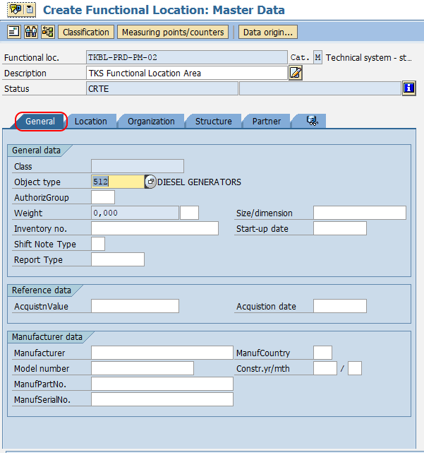 Create Functional location master date SAP